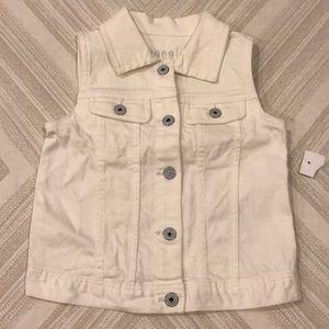 Gap Toddler Girls White Denim Button Down Vest